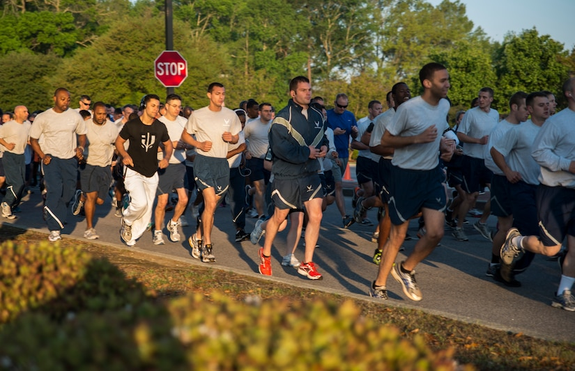 Members of Joint Base Charleston begin the 5K Fitness Challenge Run Apr. 11, 2014, on Joint Base Charleston – Air Base, S.C. The Fitness Challenge is held monthly to test Team Charleston's fitness abilities. (U.S. Air Force photo/ Airman 1st Class Clayton Cupit)