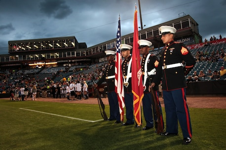 Marines from Recruiting Station Nashville present the colors at the Nashville Sounds final opening game at Herschel Greer Stadium, Apr. 11. In 1978, the United States Marine Corps presented the colors to help kick off the Nashville Sounds inaugural opening season game. (Official Marine Corps photo by Sgt. Michael Iams)