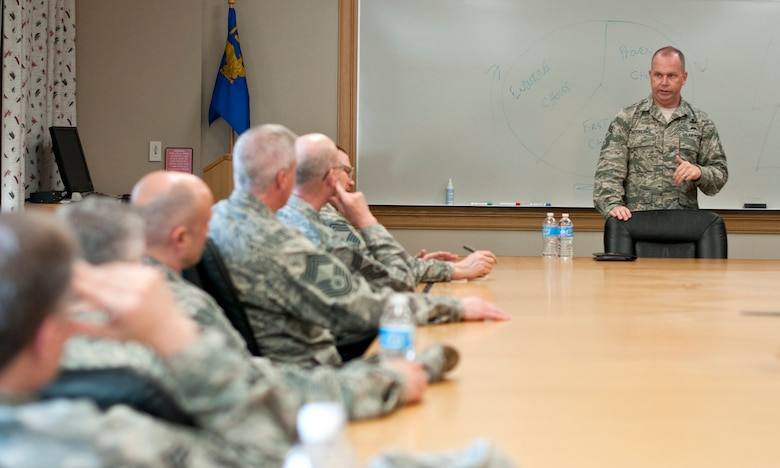 Chief Master Sgt. James Hotaling, Command Chief of the Air National Guard, meets with Senior Staff and Chiefs from the 133rd Airlift Wing in St. Paul Minn., Apr. 12, 2014. Chief Hotaling visited the wing to discuss the health of the Air Force, our commitment to the Profession of Arms and answered questions from Airmen. (U.S. Air National Guard photo by Staff Sgt. Austen Adriaens/Released)
