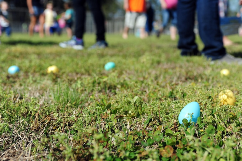 Team Seymour youth participate in an Easter egg hunt during the Military Child Celebration Block Party, April 14, at Seymour Johnson Air Force Base, N.C. More than 800 people attended to show their support for Team Seymour's military youth, and help celebrate the sacrifices military children make year-round. (U.S. Air Force photo/Senior Airman John Nieves Camacho)