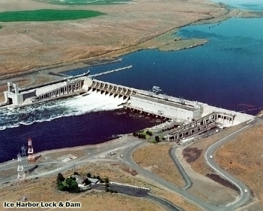 This congressionally authorized project consists of Ice Harbor Dam, powerhouse, navigation lock, two fish ladders, a removable spillway weir and a juvenile fish bypass facility. It provides navigation, hydroelectric generation, recreation and incidental irrigation.Located upstream of McNary Lock and Dam and Lake Wallula, Ice Harbor Dam is 2,822 feet long with an effective height of 100 feet. It is a concrete gravity type dam, with an earthfill embankment section at the north abutment. It includes a navigation lock with clear dimensions of 86 by 675 feet. The dam has a 10-bay spillway that is 590 feet long and includes ten 50 foot tainter gates.