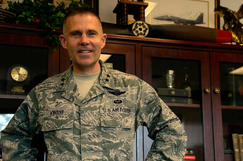 Maj. Gen. Steven Kwast stands in his office as the newly appointed commander of the Curtis E. LeMay Center for Doctrine Development and Education at Maxwell Air Force Base, March 13, 2014. As the new commander Kwast will lead the LeMay Centers' mission of developing, advocating, assessing, and revising Air Force, joint, and multinational doctrine, as well as ensuring doctrinal concepts are integrated into war-gaming and education. (U.S. Air Force photo by Staff Sgt. Gregory Brook)