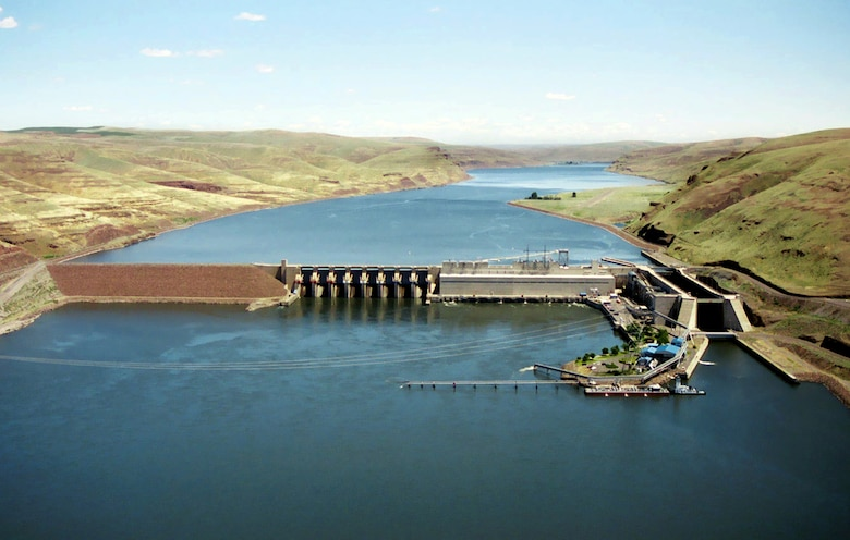 This congressionally authorized project includes a dam, navigation lock, power plant, fish ladder and appurtenant facilities. It provides navigation, hydroelectric power generation, recreation and incidental irrigation. The dam is 2,655 feet long with an effective height of about 100 feet. It is located on the Snake River near Starbuck, Wash., and upstream of Lake West, the reservoir formed by Lower Monumental Dam. It is a concrete gravity dam with an earthfill abutment embankment. It includes a navigation lock and eight-bay spillway 512 feet long, which has eight 50 feet by 60 feet tainter gates.