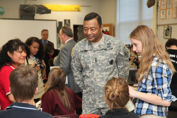 Louisville District structural engineer Mercedes Hughes (left) and USACE Commander Lt. Gen. Thomas Bostick, visits students at Scott Middle School, Fort Knox, Ky., as part of the Science, Technology, Engineering and Mathematics Education outreach to students.