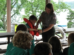 Maggie Kubina, award of merit recipient, teaches water safety at an Outdoor Education Camp, Mississinewa Lake, Peru, Ind.