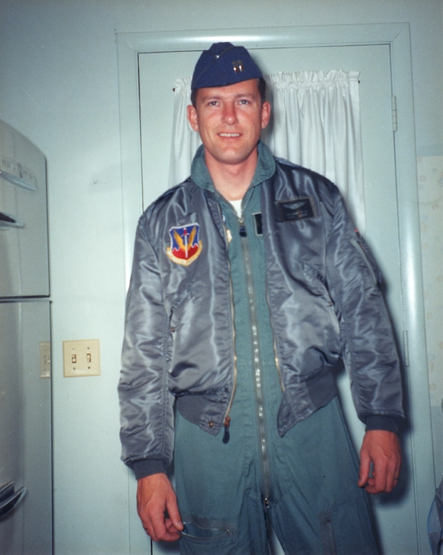 Capt. Ralph Balcom smiles in a picture taken by his wife, Marian, the morning he left home to serve in the Vietnam War. Balcom, who flew an F-105 Thud in the 421st Tactical Fighter Squadron, left behind his wife, a 7-year-old daughter, Tracy, and a 4-year-old son, Chris. (Photo courtesy of Marian Balcom Pratt)