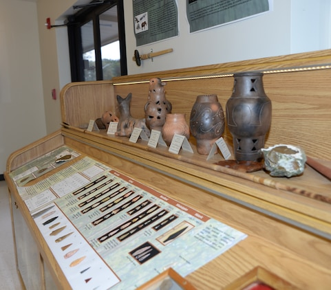 Replicas of pottery, projectile points and moccasins are on display at the Natural and Cultural Resources Center aboard Marine Corps Logistics Base Albany. The center is scheduled to open Monday.