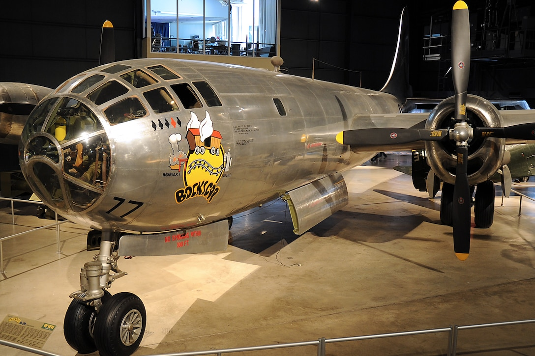 "DAYTON, Ohio -- Boeing B-29 Superfortress ""Bockscar"" in the World War II Gallery at the National Museum of the United States Air Force. (U.S. Air Force photo by Ken LaRock)"