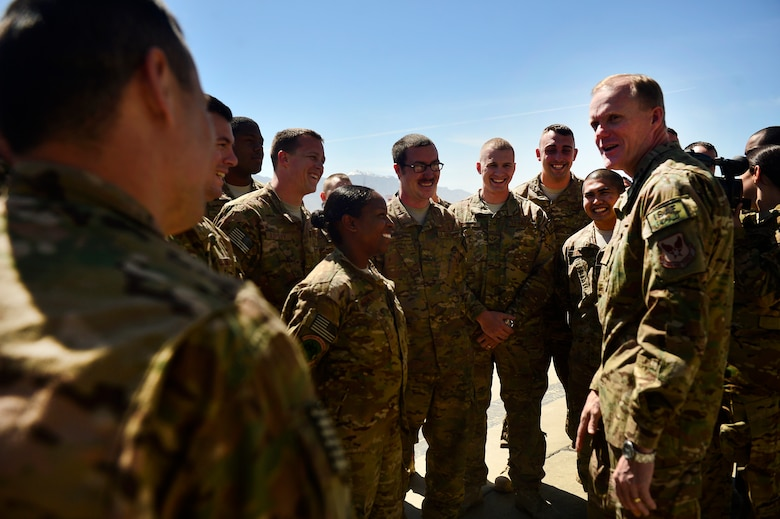 Chief Master Sgt. of the Air Force James Cody speaks with 455th Expeditionary Maintenance Support Group Airmen during a visit to Bagram Air Field, Afghanistan, April 13, 2014. Cody visited Bagram Air Field to encourage, inform and congratulate Airmen for hard work throughout Operation Enduring Freedom. (U.S. Air Force photo/Staff Sgt. Vernon Young Jr.)