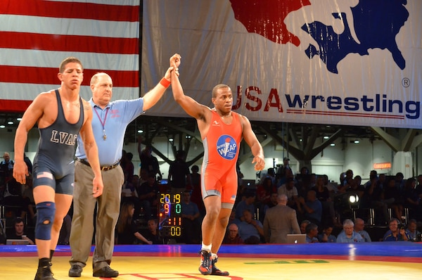Two-time World medalist and 2012 Olympian Army Sergeant Justin Lester wins the national title in the 71kg/156.5lbs Greco-Roman finals.