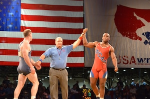 Army Specialist Caylor Williams captures his first national title winning the 98kg/216lb Greco-Roman crown.