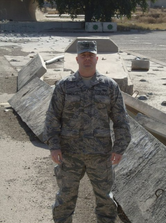 Maj. Scott Smith, 56th Comptroller Squadron commander, poses for a picture in February 2008 while deployed to Iraq. Smith deployed from June 2007 to June 2008 in support of Operation Iraqi Freedom. He received a Purple Heart for injuries he sustained and the Bronze Star for actions performed in the line of duty. (Courtesy photo)