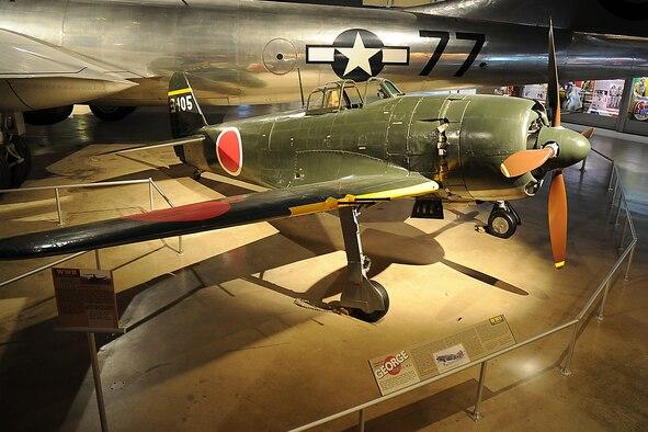 DAYTON, Ohio -- Kawanishi N1K2-Ja Shiden Kai (George) on display in the World War II Gallery at the National Museum of the U.S. Air Force. (U.S. Air Force photo)