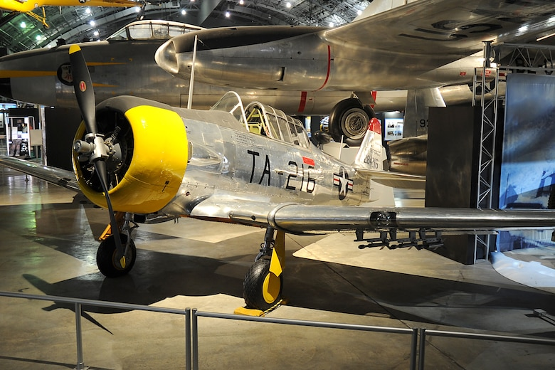 "DAYTON, Ohio -- North American T-6D ""Mosquito"" on display in the Korean War Gallery at the National Museum of the United States Air Force. (U.S. Air Force photo)"