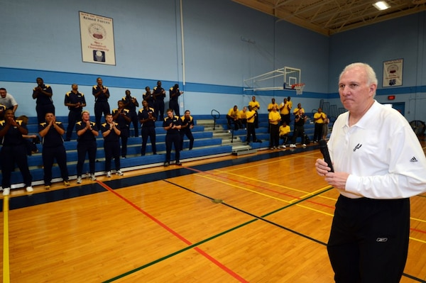 Coach Greg Popovich speaks to the players during the 2012 Armed Forces Basketball Championship on 5 November 2012.