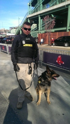 Sgt. Ryan Castonguay and Military Working Dog Dino are an explosives team