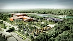 This rendering of ICC-B depicts an aerial view of the complete campus.