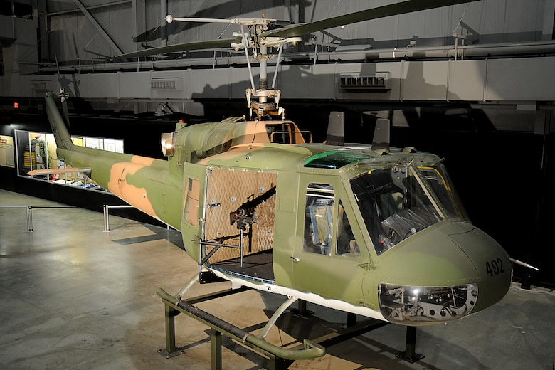 DAYTON, Ohio - Bell UH-1P Iroquois on display at the National Museum of the United States Air Force. (U.S. Air Force photo)