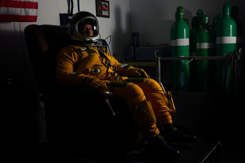 Lt. Col. Jeff Klosky receives 100 percent oxygen one hour before his flight April 20, 2014, in Southwest Asia. U-2 pilots receive the oxygen for approximately one hour to remove nitrogen and other gasses from the body to prevent decompression sickness. Klosky is a 99th Expeditionary Reconnaissance Squadron U-2 mission pilot. (U.S. Air Force photo/Tech. Sgt. Russ Scalf)