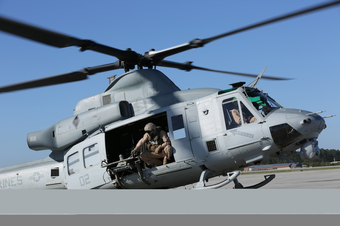 Members of Marine Light Attack Helicopter Squadron 467 take off in a UH-1Y Venom at Marine Corps Air Station Cherry Point, N.C., April 21, 2014. The flight crew conducted visual and instrument flight rules flying, gaining trust in their equipment.