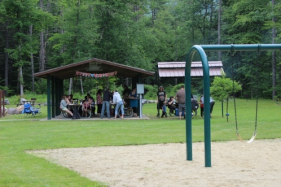 The Burrington shelter and playground at Townshend Lake, Townshend, Vt.  Shelters can be reserved for birthday parties, family reunions, and other group functions for a small fee.