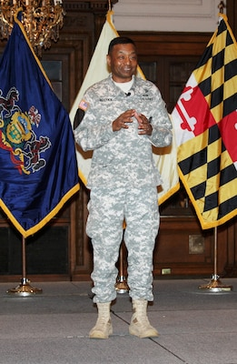 Lt. Gen. Thomas P. Bostick, U.S. Army Corps of Engineers Commanding General and the Chief of Engineers, discussed challenges and opportunities in a town hall meeting at the District Headquarters during an April 23 visit.