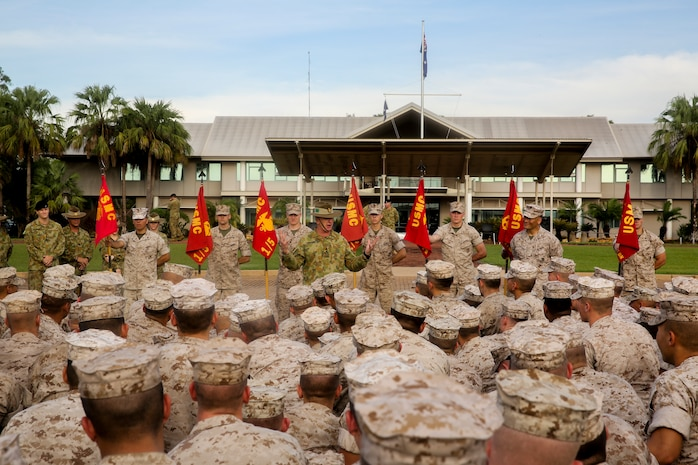 Brig. Gen. John Frewen, 1st Brigade commanding general and senior Australian Defence Force officer for Robertson Barracks, addresses Marines with Marine Rotational Force – Darwin about the six-month rotation, expectations and the significance of their presence, here, April 11. Frewen said the rotation is a tangible sign of the strength between Australia and the United States.