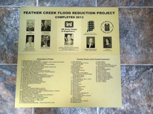 This is a sign that will be installed outside at the 9th Street Bridge in the City of Clinton, Ind. The Corps' Louisville District worked with the City on the project. The sign commemorates the success of the Feather Creek Flood Risk Reduction Project which was completed in 2013. The City is in the process of making a surround for the sign to go on so passersby can reflect on the new project.