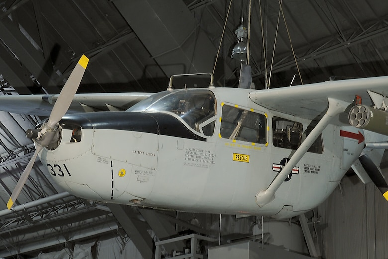 DAYTON, Ohio -- Cessna O-2A Skymaster in the Southeast Asia War Gallery at the National Museum of the United States Air Force. (U.S. Air Force photo)