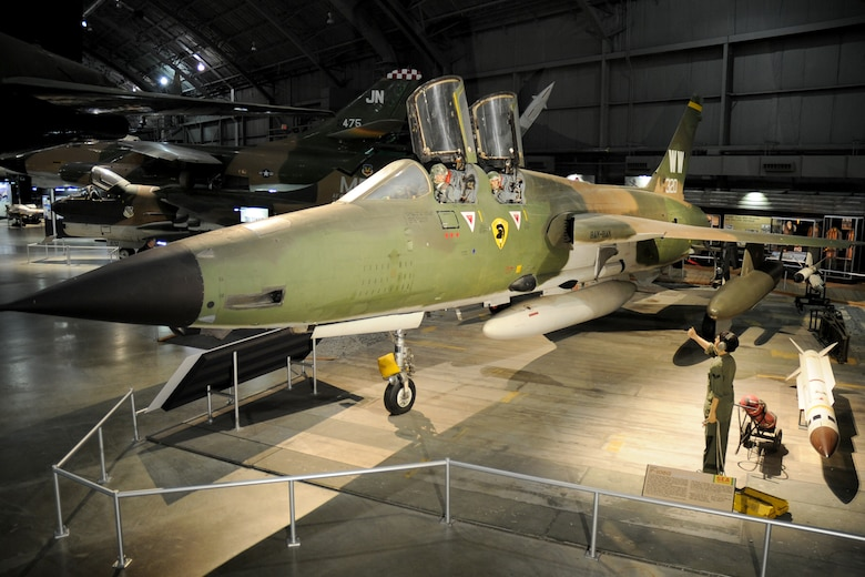 DAYTON, Ohio - Wild Weasel exhibit, including the Republic F-105G, in the Southeast Asia War Gallery at the National Museum of the United States Air Force. (U.S. Air Force photo)