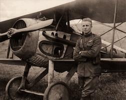 2nd Lt. Frank Luke Jr. with his biplane in the fields near Rattentout Farm, France, on Sept. 19, 1918.