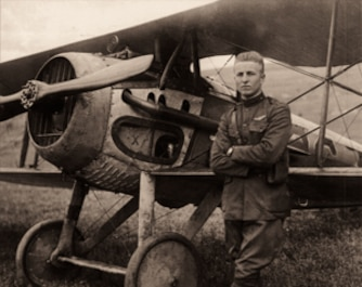 2nd Lt. Frank Luke Jr. with his biplane in the fields near Rattentout Farm, France, on Sept. 19, 1918.