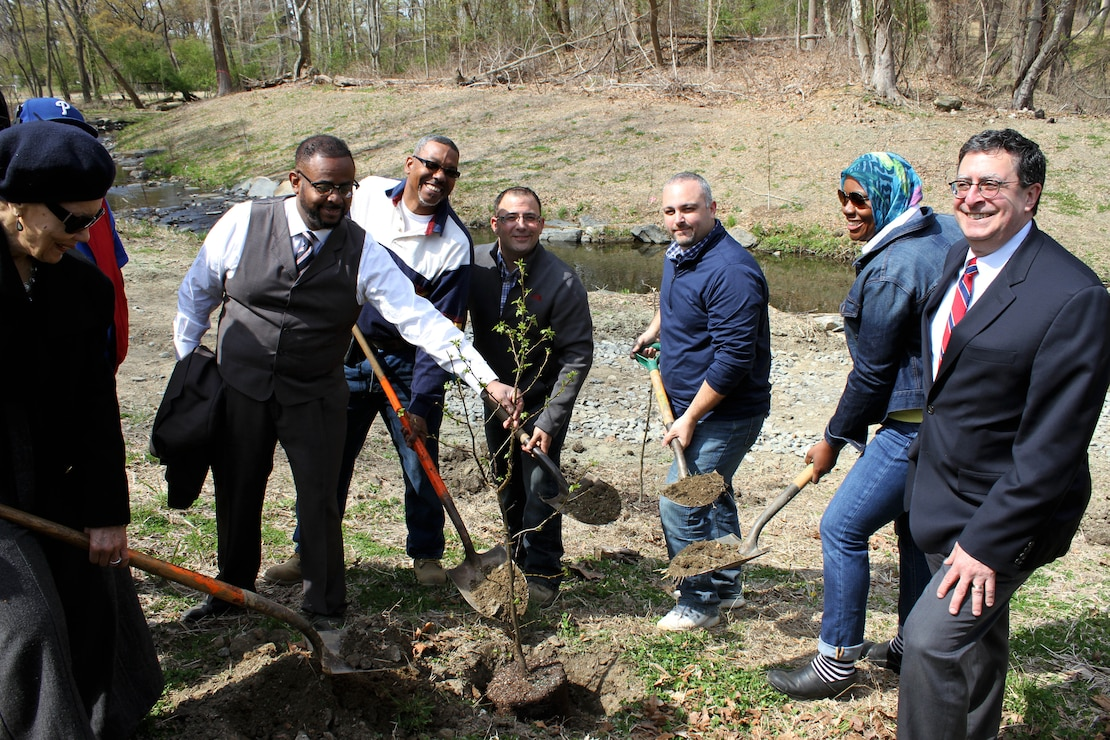 The U.S. Army Corps of Engineers' Philadelphia District and the Philadelphia Water Department celebrated the completion of the daylighting of the Indian Creek as part of the Cobbs Creek Watershed Habitat Restoration during an April 25, 2014 event at Morris Park in the Overbrook section of Philadelphia. Army Corps leadership and staff, city and state officials, community groups, and contractors planted a ceremonial tree during the event.