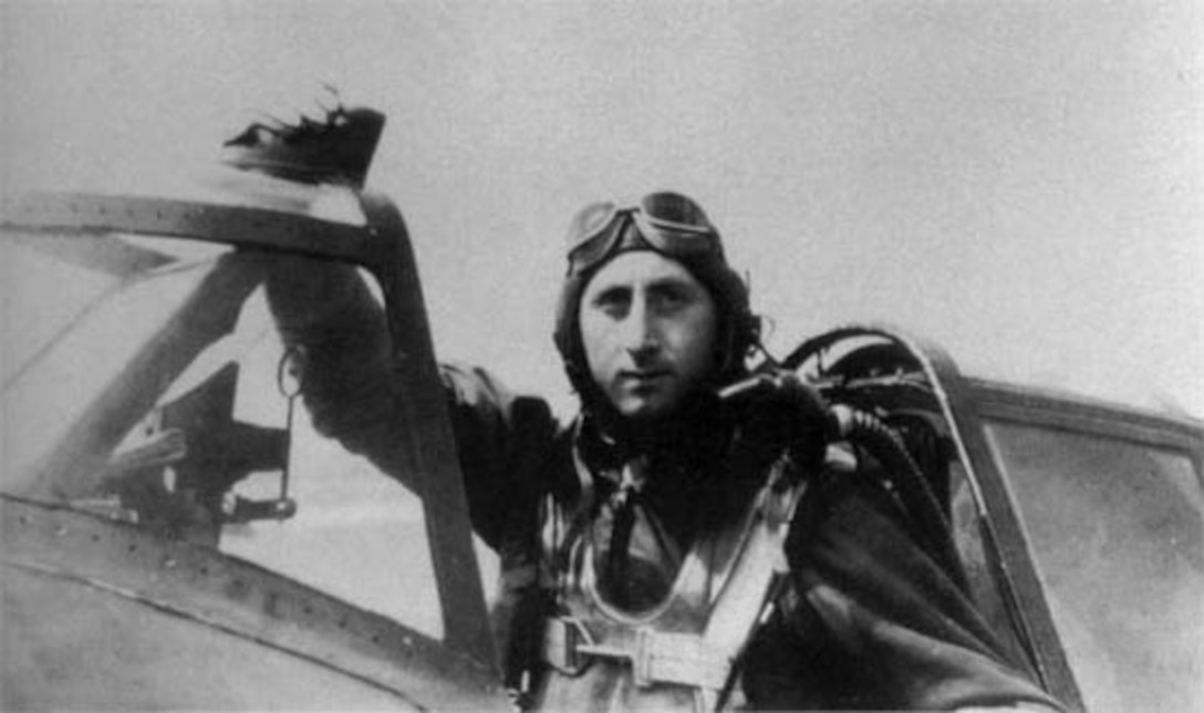Capt. Rudy Augarten, a P-47 pilot in the 406th Fighter Squadron of the 371st Fighter Group, is seen here in the cockpit of a P-47D Thunderbolt during WWII. (Courtesy Eric Bogomolny)