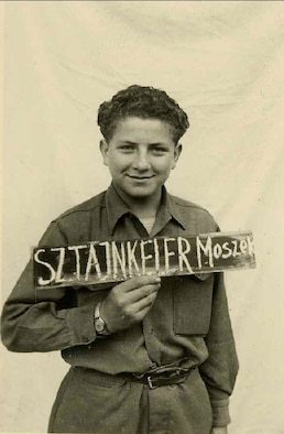 Morris Stein, grandfather of U.S. Air Force Tech. Sgt. Erica Stein, stationed at Spangdahelm Air Base, Germany, is a survivor of the Holocaust. He is pictured here at age 14 in 1945 after liberation from a concentration camp by the U.S. military. (Courtesy photo/Released)
