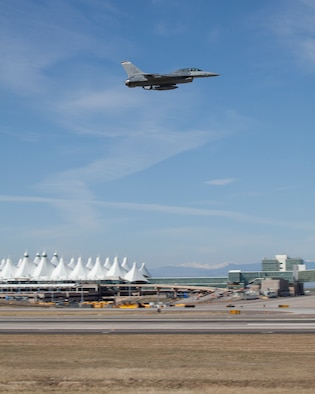 Denver International Airport (DIA) will temporarily host the Colorado Air National Guard F-16s while the runway at Buckley Air Force Base undergoes reconstruction. (Air National Guard photo by SMSgt John Rohrer.)