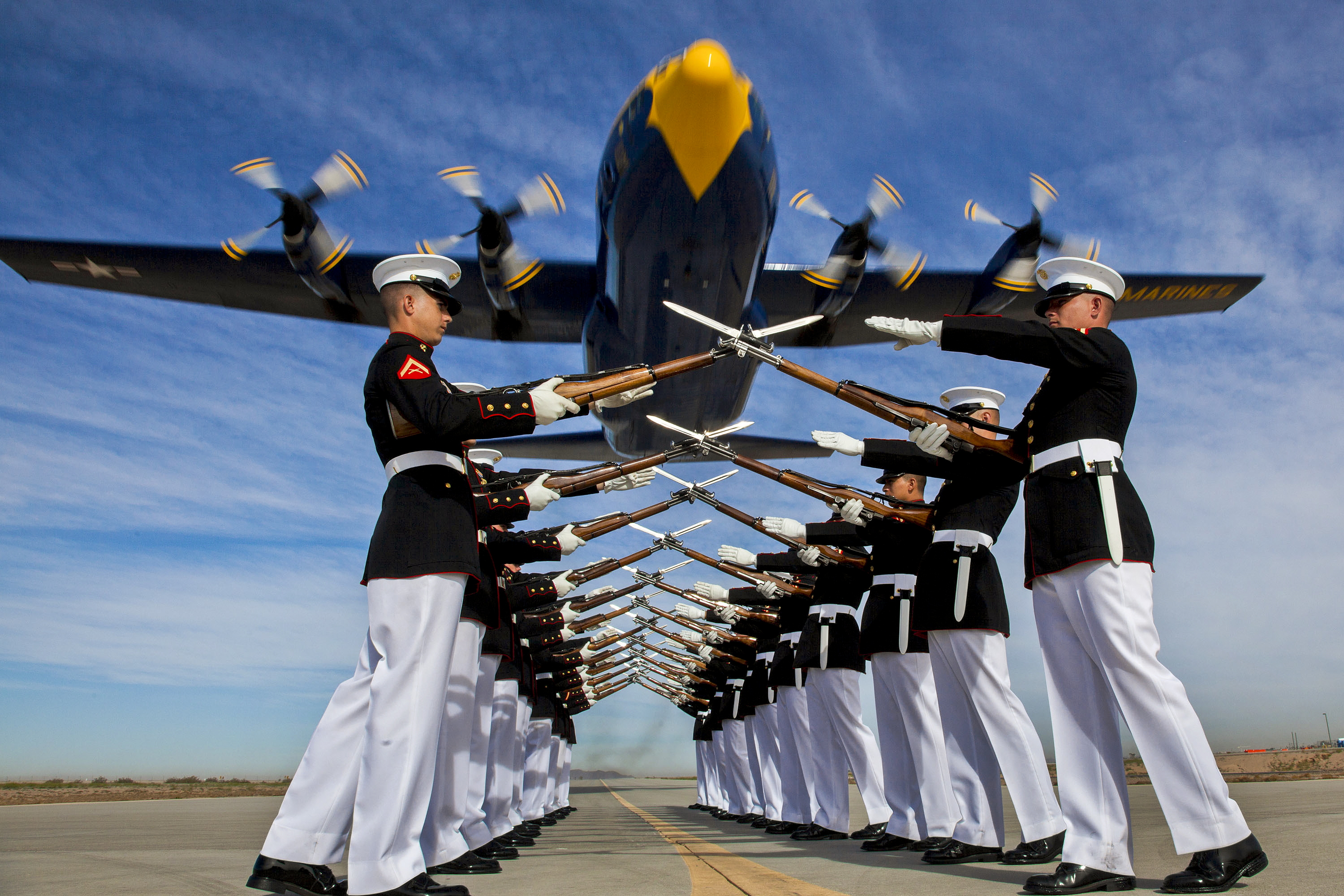 "U.S Marines • Silent Drill Platoon & Blue Angels ""Fat Albert"" Flyover"