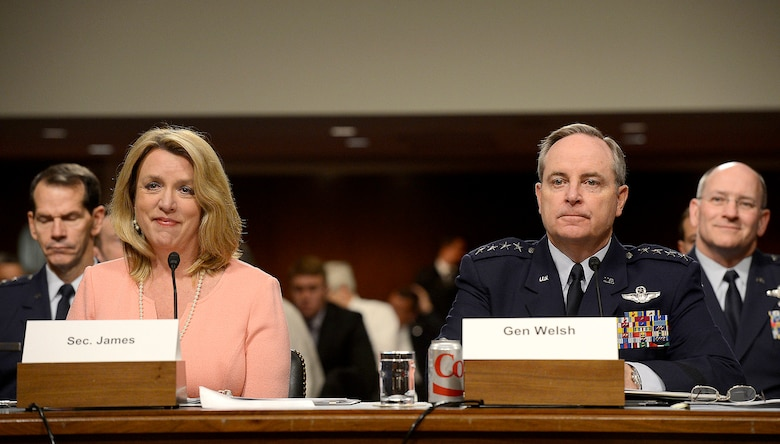Secretary of the Air Force Deborah Lee James and Air Force Chief of Staff Gen. Mark A. Welsh III present the structure of the Air Force to the Senate Arms Services Committee April 29, 2014, in Washington, D.C.  James and Welsh said the Air Force's future will more fully incorporate personnel from the Reserves and National Guard.  (U.S. Air Force photo/Scott M. Ash)