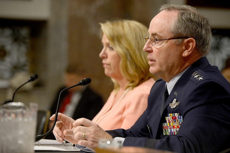 Air Force Chief of Staff Gen. Mark A. Welsh III and Secretary of the Air Force Deborah Lee James present the structure of the Air Force to the Senate Arms Services Committee April 29, 2014, in Washington, D.C.  James and Welsh said the Air Force's future will more fully incorporate personnel from the Reserves and National Guard.  (U.S. Air Force photo/Scott M. Ash)