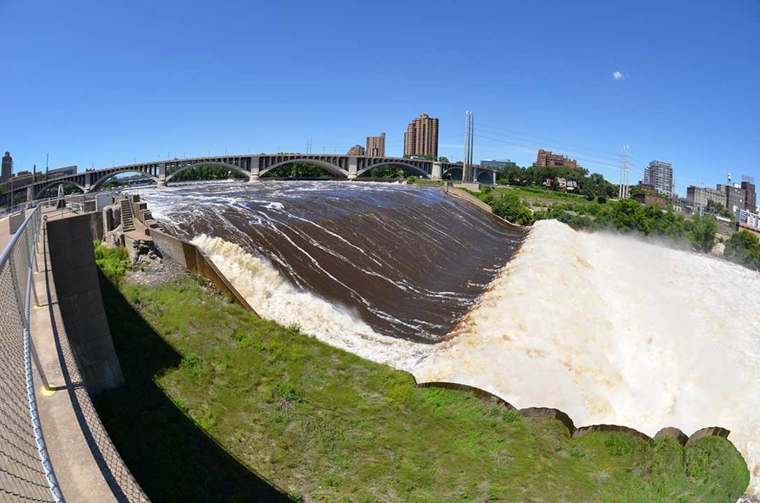 Mississippi River flows at 40,000 cubic feet per second, or cfs, over the spillway at Upper St. Anthony Falls Lock and Dam, June 27, 2013.