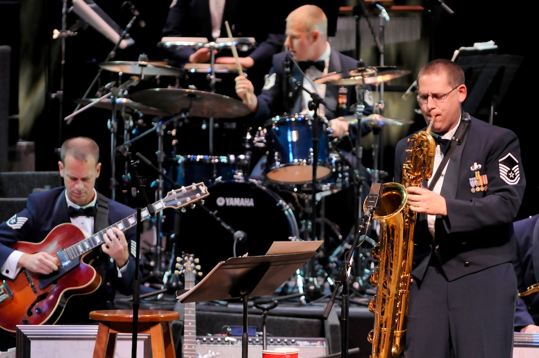 The Airmen of Note will perform at the Jacksonville Jazz Fest and the Atlanta Jazz Festival on Memorial Day weekend. Pictured here:  Master Sgt. Doug Morgan (bari sax), Technical Sgt. Geoffrey Reecer on guitar, and Technical Sgt. Dave McDonald (drums). (U.S. Air Force photo/released)
