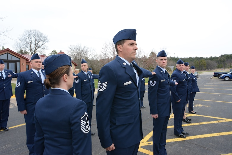 Airmen who attended the State Enlisted Development Program participate in an open ranks inspection at Volk Field Air National Guard Base, Wis., April 23, 2014. This was the first time all Wisconsin ANG Airmen were invited to complete the course as a single unit. (Air National Guard photo by Senior Airman Andrea F. Liechti)
