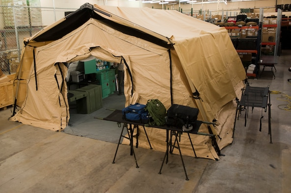 The exterior of an Utilis Air Transportable Clinic tent assembled during an Air Force unit type code evaluation April 24, 2014 at Nellis Air Force Base, Nev. The 99th Medical Support Squadron took part in an AF pilot program to evaluation the ATC for world-wide contingencies, disasters or emergencies. (U.S. Air Force photo by Airman 1st Class Timothy Young)