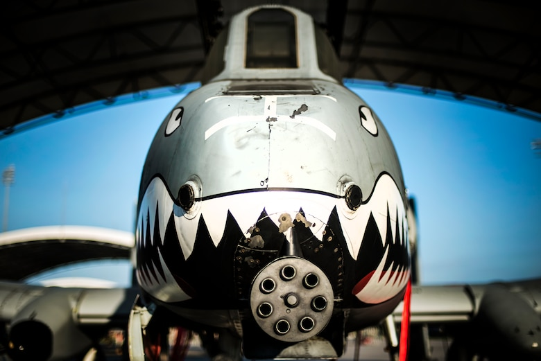 An A-10C Thunderbolt II sits under a sun shade July 29, 2014, at Moody Air Force Base, Ga. The A-10's primary weapon is a single 30mm GAU-8/A seven-barrel Gatling gun. It can also carry up to 16,000 pounds of mixed ordnance such as cluster bomb units, joint direct attack munitions and AIM-9 Sidewinder missiles. (U.S. Air Force photo/Airman 1st Class Ryan Callaghan)