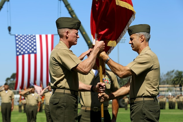 CAMP PENDLETON, Calif. - Brig. Gen. John W. Bullard relinquished command of Marine Corps Installations West and Marine Corps Base Camp Pendleton to Brig. Gen. Edward D. Banta during a Change of Command at the 11 Area Parade Field Aug. 1.