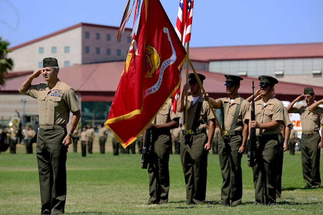 CAMP PENDLETON, Calif. - Brig. Gen John W. Bullard relinquished command of Marine Corps Installations West and Marine Corps Base Camp Pendleton to Brig. Gen. Edward D. Banta during a Change of Command at the 11 Area Parade Field Aug. 1.