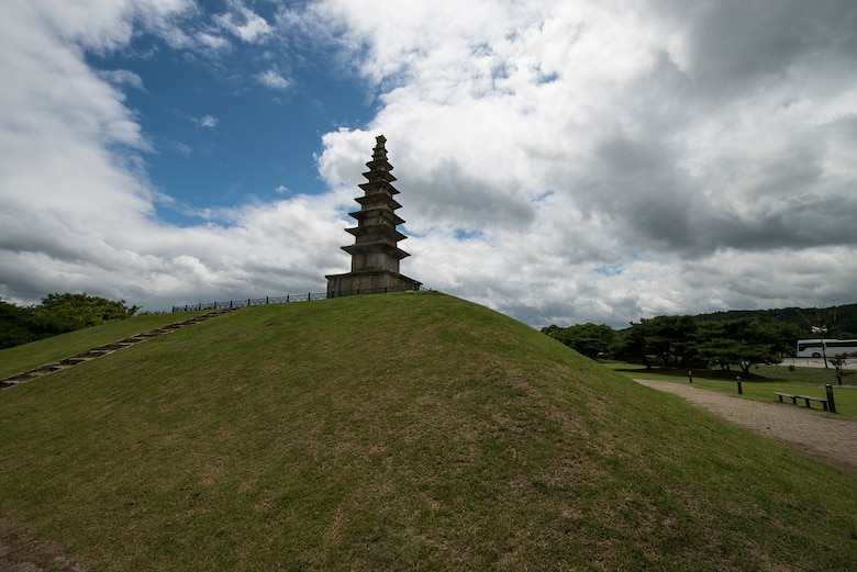 Chungum a small city in the  North Chungcheong province, Republic of Korea, pictured here July 26, 2014. Pictured here is a 7-roofed pagoda in a local park. (U.S. Air Force photo by Staff Sgt. Jake Barreiro)