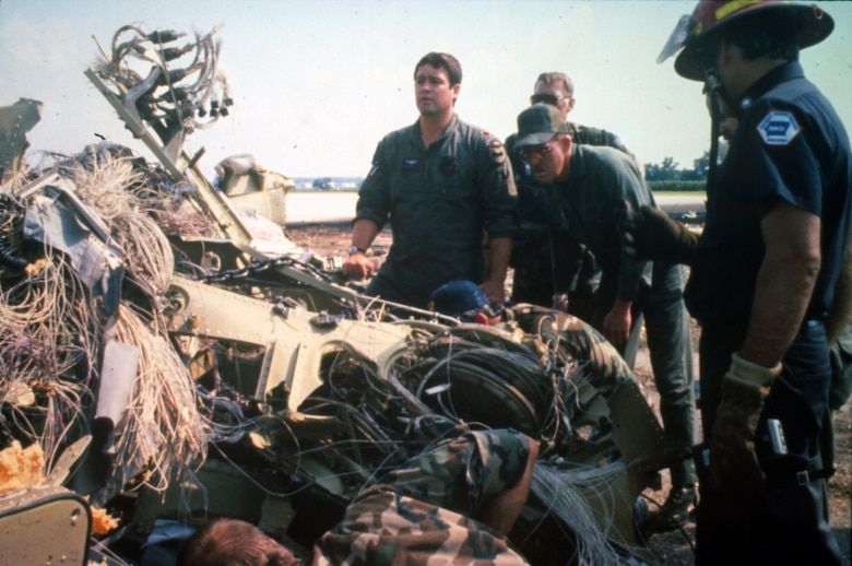On July 19, 1989 United Flight 232 crashed in Sioux City, Iowa with 285 souls on board. Members of the Iowa Air National Guard's 185th Fighter Squadron, now the 185th Air Refueling Wing, responded to the crash to help save lives. (Air National Guard photo/Released)