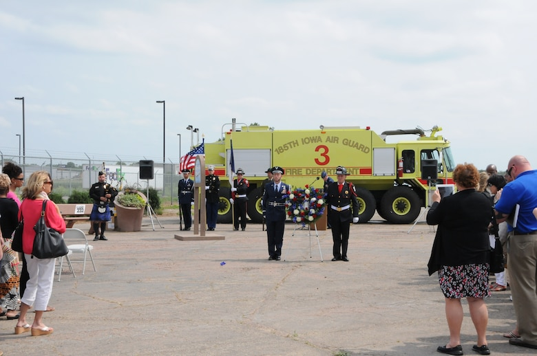 Members of the 185th Air Refueling Wing along with emergency responders gather with survivors of the crash of United Flight 232 on July 19, 2014 to mark the 25th anniversary of the crash in Sioux City, Iowa. A memorial garden was dedicated for the victims of the crash on the spot where the flight first touched down which is now part of the Mid America Museum of Aviation and Transportation. (Air National Guard photo by 1LT Jeremy J. McClure/Released)