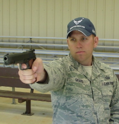 Staff Sgt. Terrence Sears, NCO in charge of the Air Force National Pistol Team, was the winner of the General Curtis LeMay Trophy, given to the top Air Force shooter at the National Pistol Championships in July 2014. (Courtesy photo)